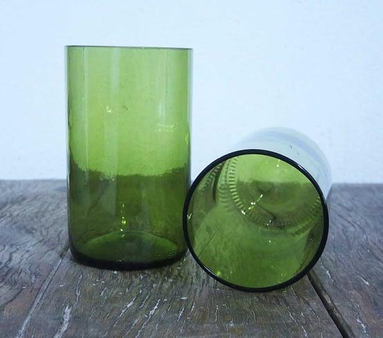 wine bottle glasses green