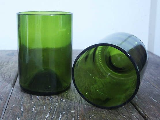 recycled green scotch glasses